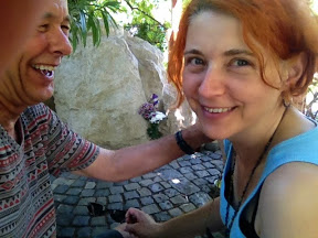 "OUR FIRST ""SELFIE"" PHOTO, TAKEN AT A CHURCH GARDEN IN VESZPREM"