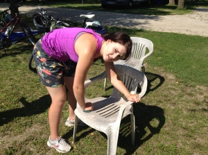 TINA-cleaning our last nights chairs. Super Hero