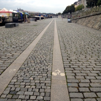 SUPER NARROW BIKE LANE, STILL BETTER THAN RIDING ON COBBLESTONE