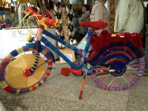 CROCHET BICYCLE AT THE ART SHOW