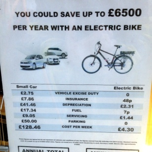 FUN E-BIKE FACTS IN THE WINDOW OF THE E-BIKE STORE