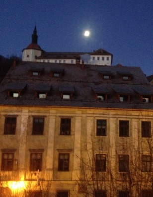 FULL MOON OVER THE CASTLE, VIEW FROM OUR APARTMENT