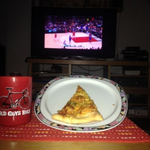 WATCHING THE BLAZERS GAME AND EATING PIZZA FOR BREAKFAST