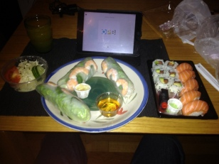 SUSHI AND SALAD ROLLS FOR DINNER