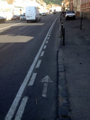 1/2 SIZE BIKE LANE, WE RODE ON THE SIDEWALKS