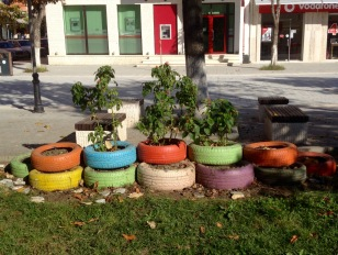 RECYCLED TIRE PLANTERS IN CITY CENTER PARK