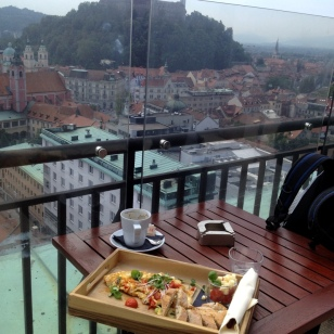 BREAKFAST OVERLOOKING THE LJUBLJANA CASTLES