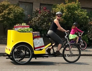 TAKING BACK LEFT OF PRODUCE, BY BIKE!